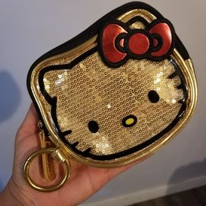 Loungefly gold sequin bling hello Kitty coin purse